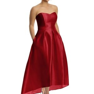 Alfred Sung high-low dress in flame red- D699- New